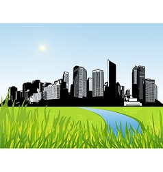 City with green grass at the front art vector image