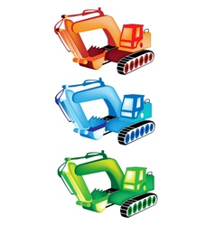 A Colorful Set of Excavator Icons vector image vector image