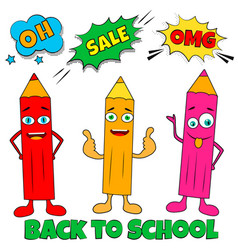 back to school vertical background with pop art vector image