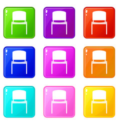 black office chair set 9 vector image
