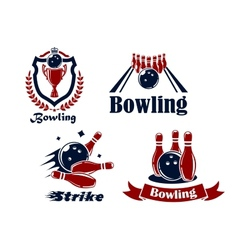 Bowling emblems and symbols vector