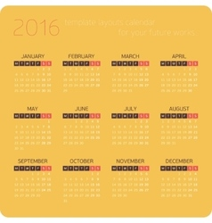 Calendars for 2016 Orange vector image vector image
