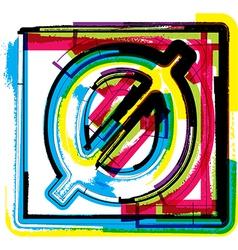 Colorful grunge font number 0 vector