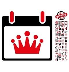 Crown calendar day flat icon with bonus vector