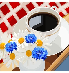 Cup of coffee on a table with flowers vector