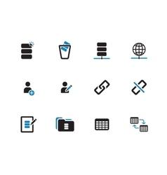 Database duotone icons on white background vector