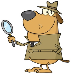 detective dog holding a magnifying glass vector image vector image