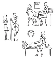 Doctor and pregnant woman vector