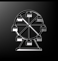 Ferris wheel sign gray 3d printed icon on vector