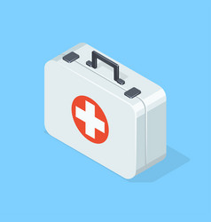 First aid kit on blue background vector