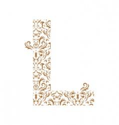 Floral letter l ornament font vector