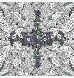 grey color outline decorative floral pattern vector image vector image