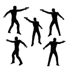Gunman businessman silhouette in black vector