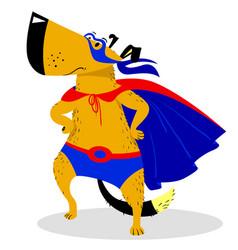 Halloween dog character in superman costume vector