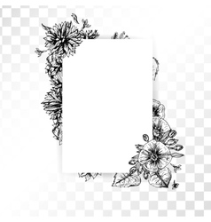 Hand drawn vintage flower frame on transparent vector