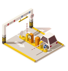 isometric low poly car parking entrance vector image vector image