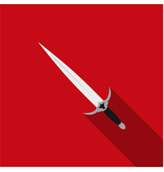 one-handed sword icon flate single weapon icon vector image