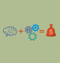 Profit and investment concept brains plus gears vector