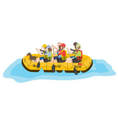 rafting six people and dog in yellow boat vector image vector image