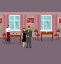 Restaurant interior with couple of visitors and vector