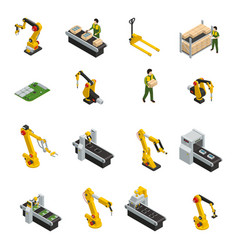 Robotic machinery isolated symbols vector