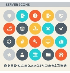 Server icon set Multicolored flat buttons vector image vector image