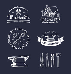 set of hand sketched blacksmith logos vector image