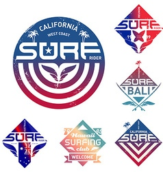 Set of vintage surfing logo with gradients design vector