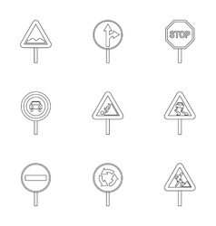 Sign warning icons set outline style vector image vector image