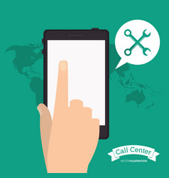 Smartphone call center application world vector