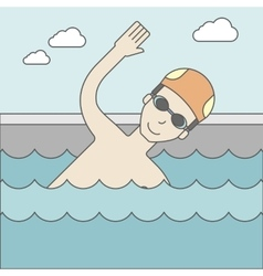 Swimmer in the pool vector image vector image