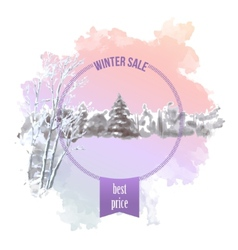 Watercolor Splash Winter Landscape vector image