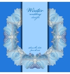 Wedding wreath frame design winter frozen glass vector