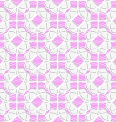 White geometrical ornament textured with pink vector