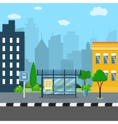 Bus stop with city background vector