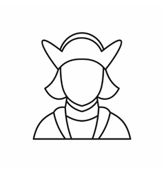 Columbus discoverer of america icon outline style vector