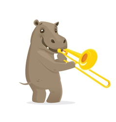 Musical animals Hippo trombone vector image