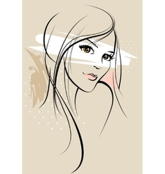 Beautiful girl sketch vector