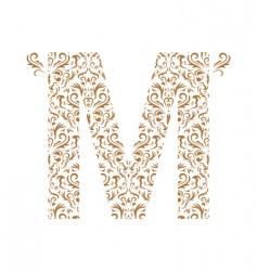 Floral letter m ornament font vector