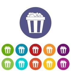 Box of popcorn set icons vector image