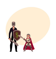 Businessman as knight with helmet sword shield vector