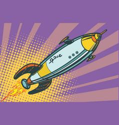 Retro space ship flies up vector