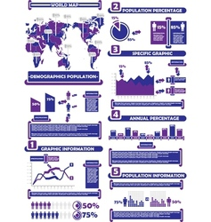 Infographic demograp world percentage purple vector