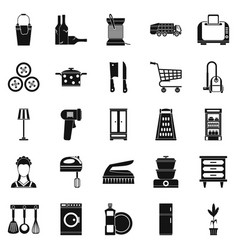 Family life icons set simple style vector