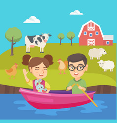 happy caucasian boy and girl traveling by boat vector image