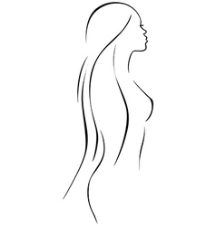 Beautiful woman - black line drawing vector