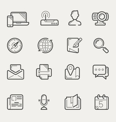 Internet communication and social media line icons vector