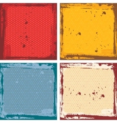 Abstract grunge frame set red orange blue beige vector