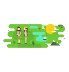 Flat cartoon couple with hiking equipment vector