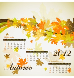 Maple autumn calendar 2012 vector